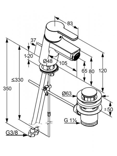 Desen tehnic baterie bideu cu racorduri flexibile, LOGO NEO