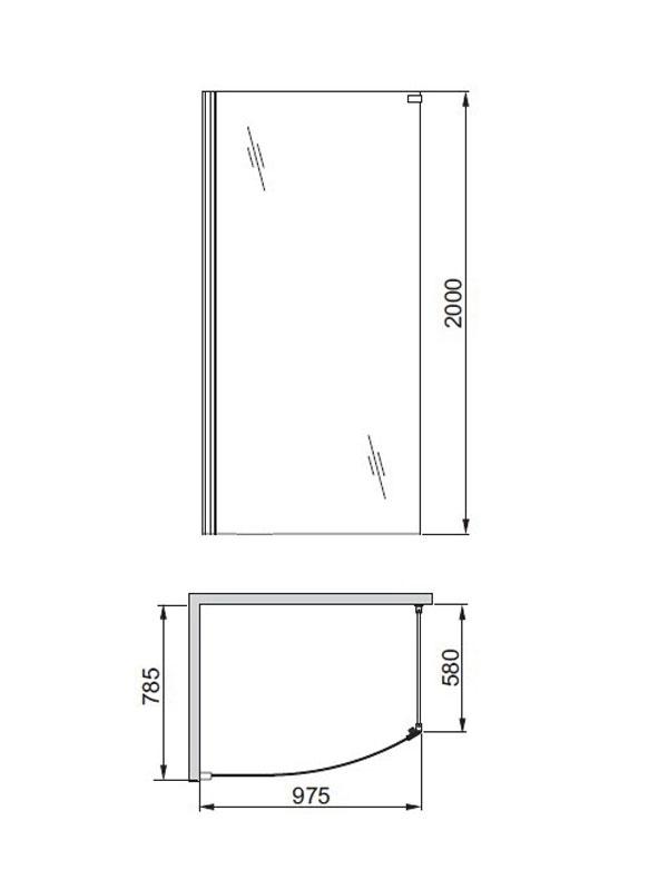 Desen tehnic, Solitare cabina walk-in fara cadita de dus
