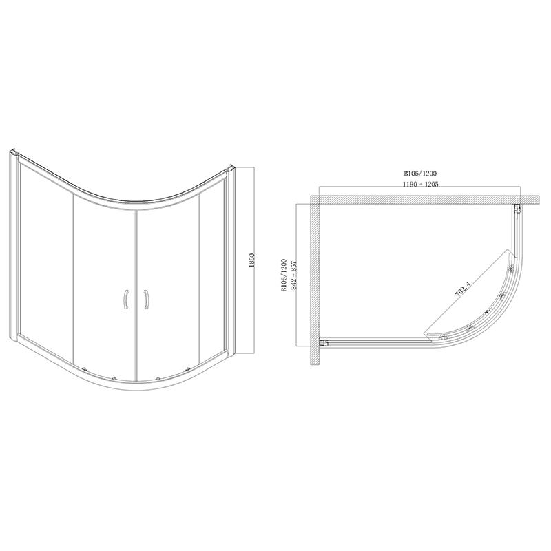 Desen tehnic Cabina de dus asimetrica, de dreapta, cu cadita si sifon, 120 x 85 cm, MADRID
