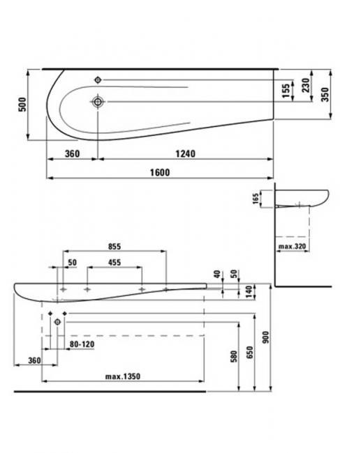 Desen tehnic lavoar pentru blat, ALESSI ONE