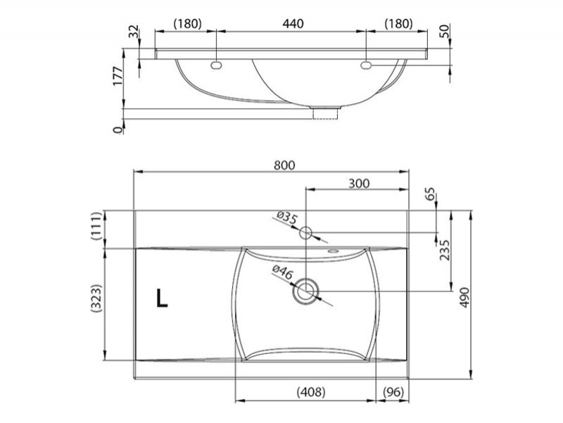 Desen tehnic lavoar CLASSIC 800