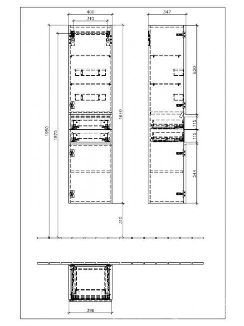 Dulap suspendat inalt, de stanga, 164 cm, lemn deschis, Memento