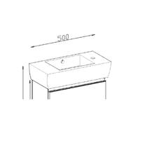 Lavoar pentru mobilier, baterie pe stanga, 50 cm, Mignon