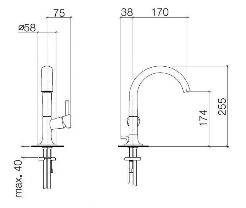 Desen tehnic baterie de lavoar LaFleur