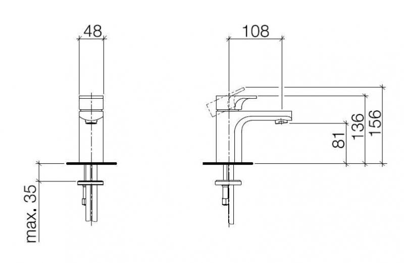 Desen tehnic baterie de lavoar CULT