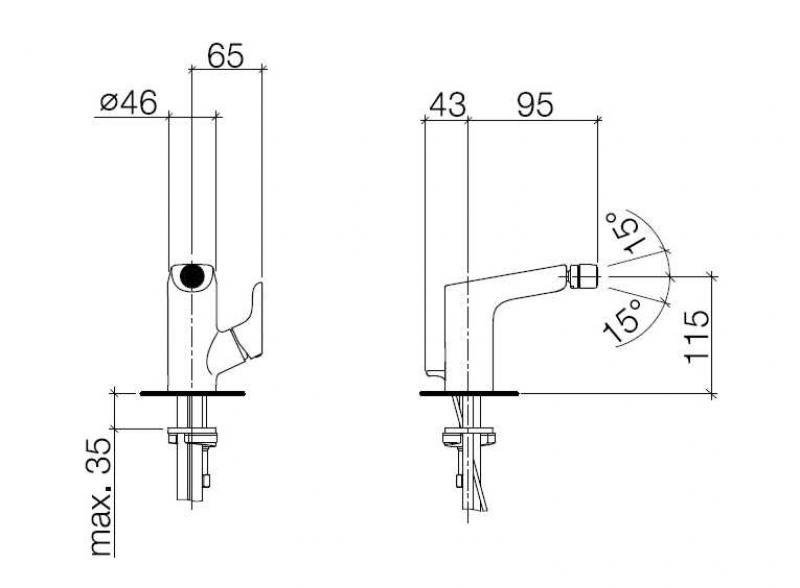 Desen tehnic baterie de bideu L'Aura
