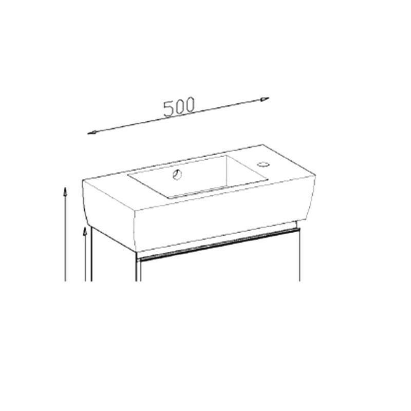 Lavoar pentru mobilier, baterie pe dreapta, 50 cm, Mignon