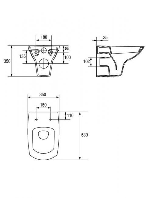 Desen tehnic vas WC, Carina