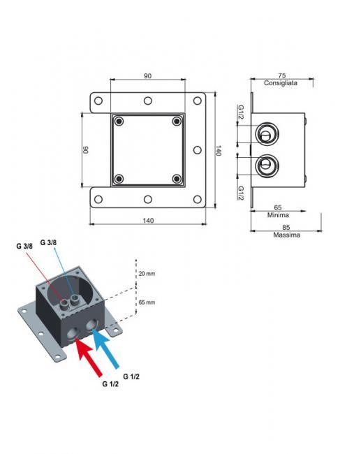 Corp incastrat pentru bateria stativa de pardoseala QUAD  F3721/PCR/P