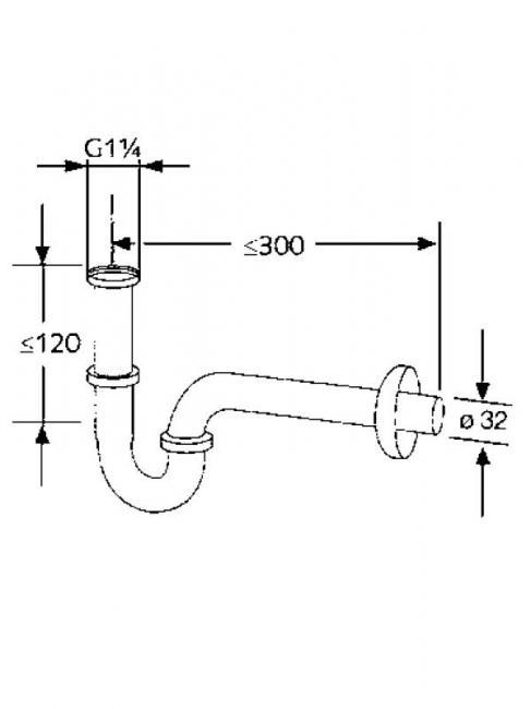 Desen tehnic sifon, pentru lavoar cu teava lunga, tip p, din crom