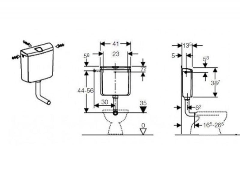 Desen tehnic rezervor WC, GEBERIT RIO