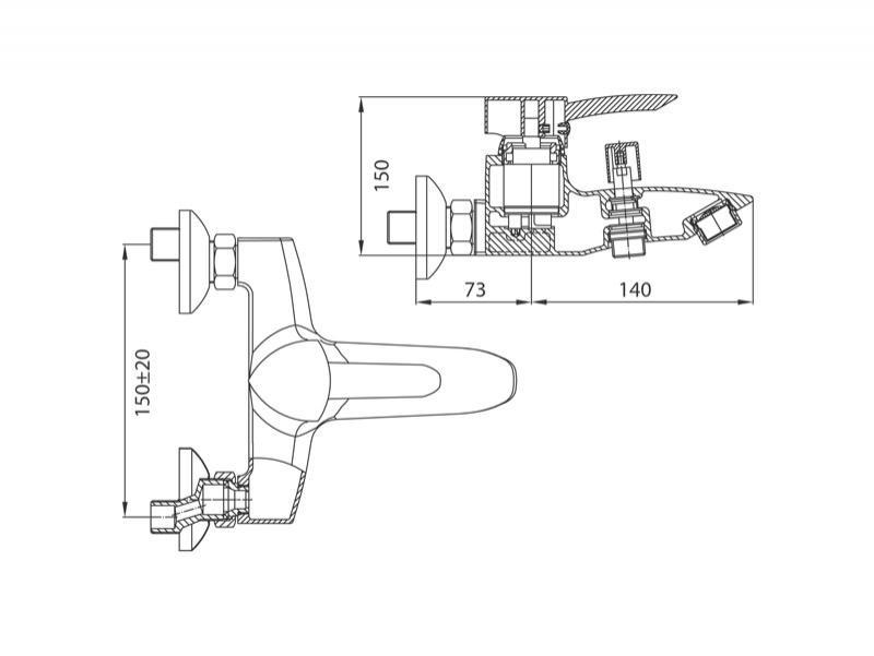 Desen tehnic, baterie pentru cada-dus cu montaj pe perete, Modena