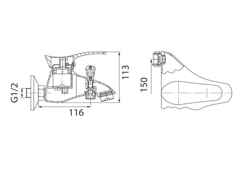 Desen tehnic, baterie pentru cada-dus cu montaj pe perete, Padwa