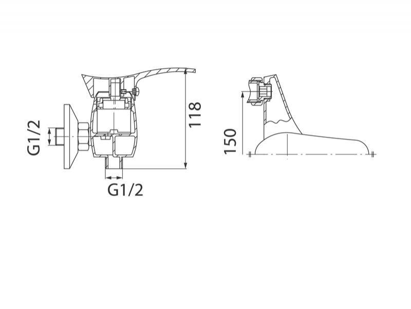 Desen tehnic, baterie pentru dus cu montaj pe perete, Padwa