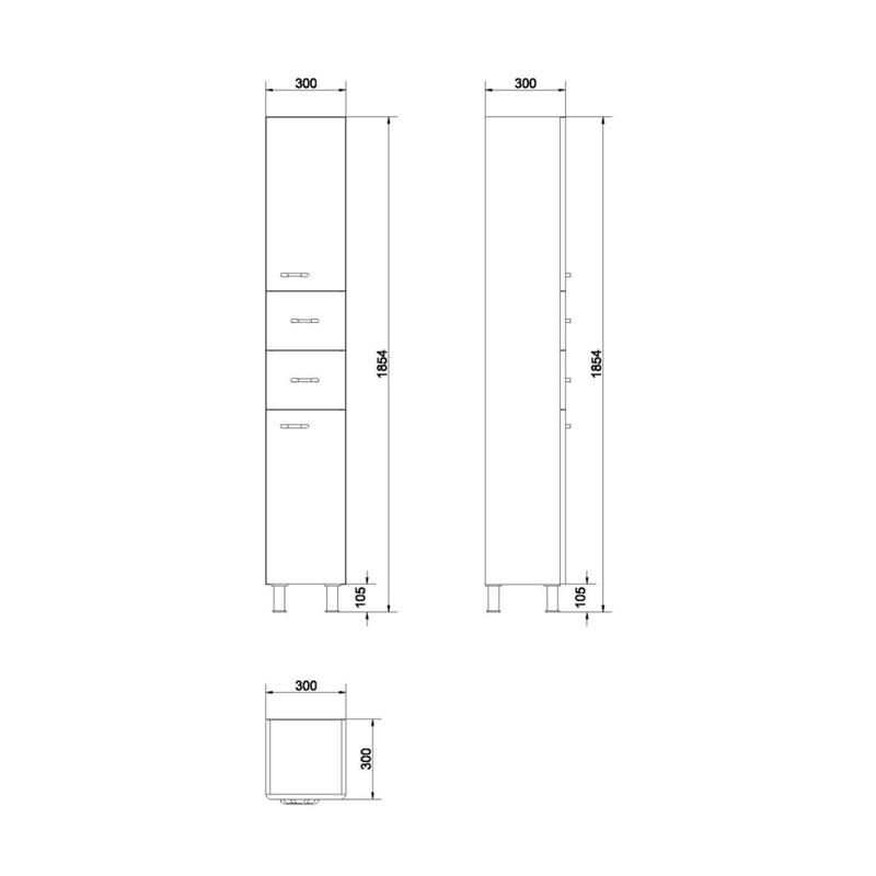 Dulap stativ inalt, 186 cm, alb, Alpina