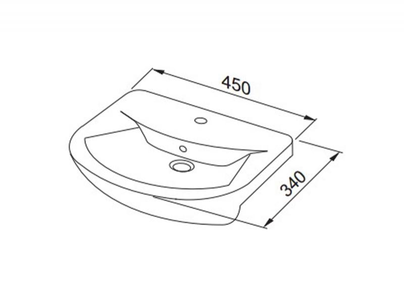 Desen tehnic, lavoar, Flex, 45 cm