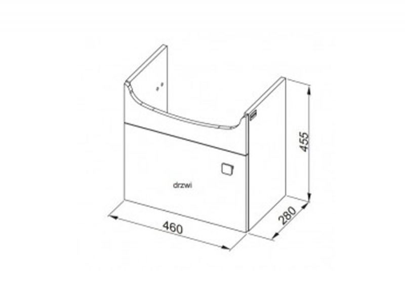 Desen tehnic, set mobilier de baie, FLEX, 50 cm, alb