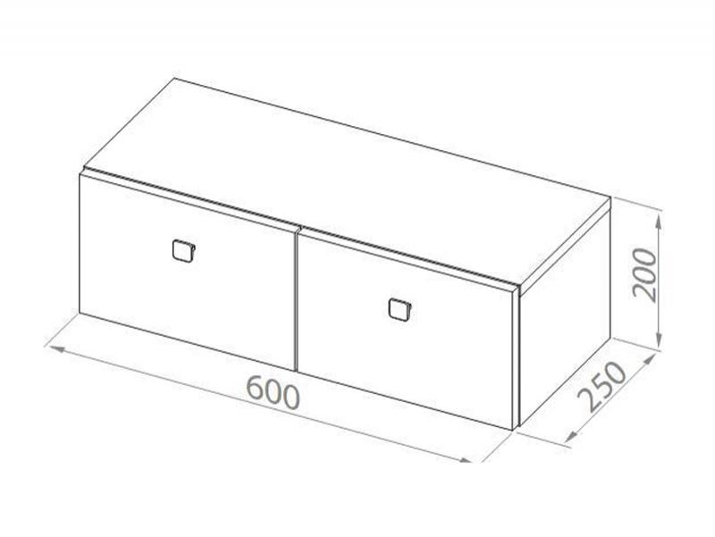 Desen tehnic, dulap suspendat cu sertare, Flex, h.20 cm, alb