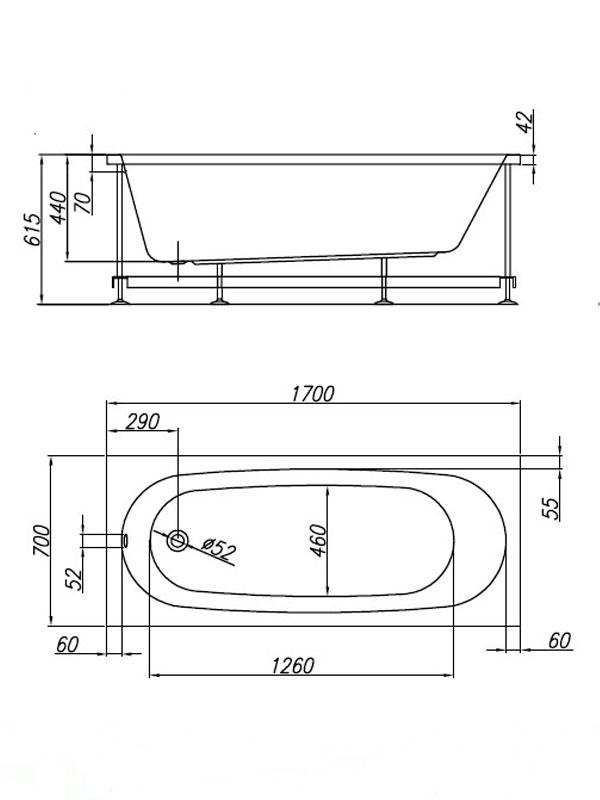 Desen tehnic cada Tamia 170x70 cm