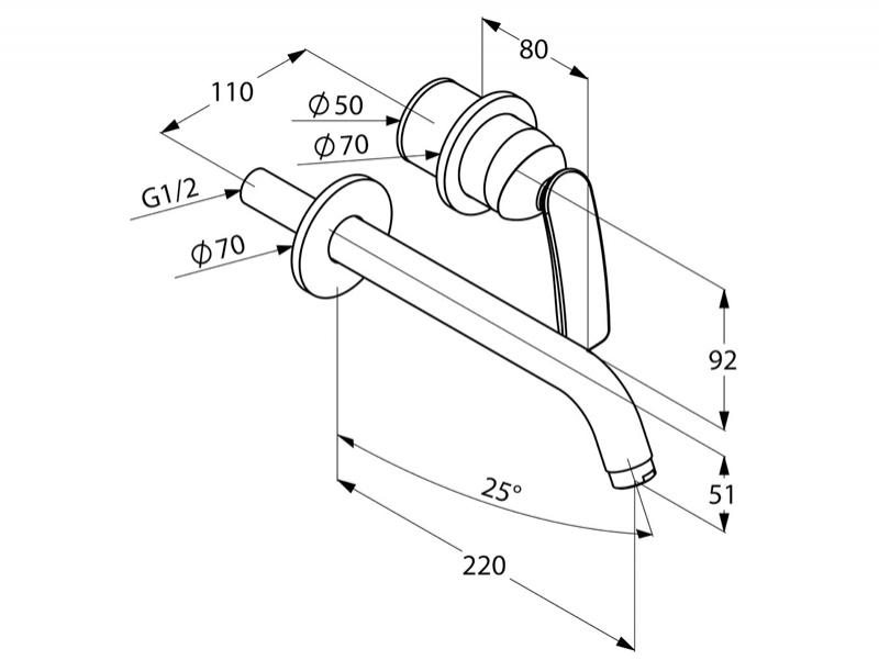Desen tehnic, Amestecator lavoar de perete cu 2 gauri