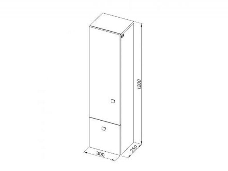 Desen tehnic, dulap suspendat înalt cu sertar, Flex, h.120 cm, alb