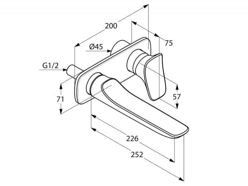 Desen tehnic, baterie lavoar cu 2 treceri