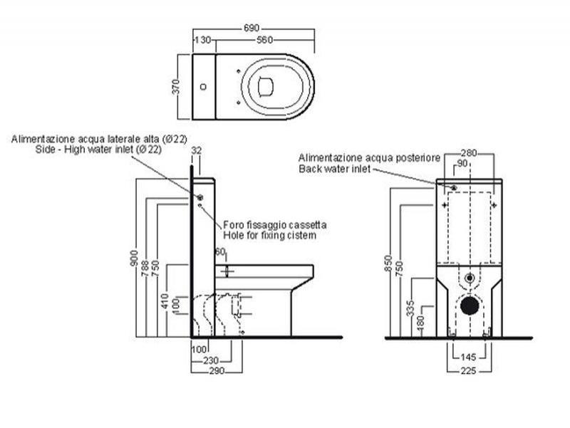 Desen tehnic vas WC cu rezervor monolith