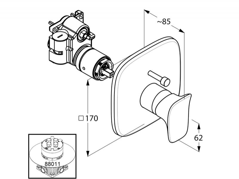 Desen tehnic,Kludi, Amba, baterie incastrata cada-dus, cu protectie impotriva fluctuatiilor presiunii apei