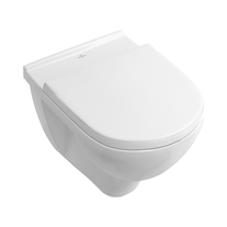 Set vas WC Villeroy & Boch, O.Novo,  suspendat, cu capac soft close si quick release, alb