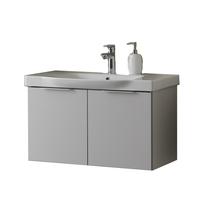 Set lavoar + mobilier Kolpasan, Lana, 80 cm, gri deschis