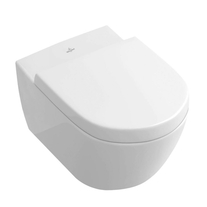 Set vas WC Villeroy & Boch, Subway 2.0, suspendat, cu capac WC soft close, alb alpin