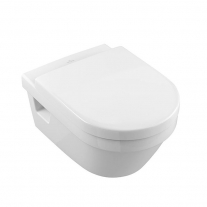 Set vas WC suspendat Villeroy & Boch, Architectura, rotund, cu capac soft close,quick release alb alpin