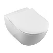 Villeroy-Boch, Set vas WC suspendat Avento, direct flush, cu capac slim, soft close, quick release, alb, 5656RS01