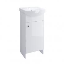 Set mobilier Cersanit, Sati, cu 2 usi + picioare + lavoar 40 x 33 cm, alb