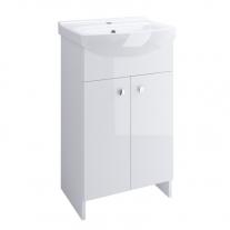 Set mobilier Cersanit, Sati, cu 2 usi + picioare + lavoar 51 x 38 cm, alb
