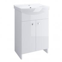 Set mobilier Cersanit, Sati, cu 2 usi + picioare + lavoar 60,5 x 41,5 cm, alb