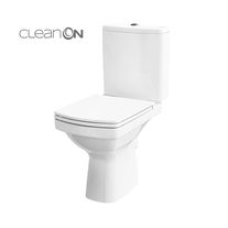Set vas WC Cersanit, Easy New, stativ, alimentare verticala, Rimless cu rezervor si capac Soft-Close si Easy Off inclus