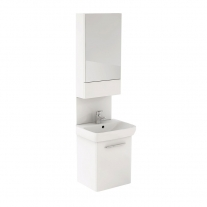 Set mobilier + lavoar + oglinda Kolo, Nova Pro, 60cm, alb lucios