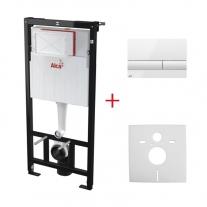 Alcaplast, Sadromodul, set rezervor wc incastrat pentru instalari uscate (in gips-carton) + clapeta alb-lucios M1710 + izolare fonica