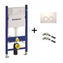 Set rezervor incastrat Geberit, Duofix, cu set fixare si clapeta alba Delta, pentru vas WC suspendat