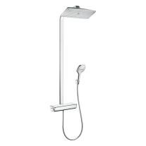Coloana de dus cu termostat, Hansgrohe, Raindance Select E 360, cu cap fix si mobil, crom