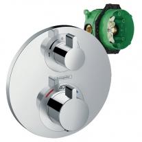 Set baterie cada dus cu termostat si corp incastrat, Hansgrohe, Ecostat S, Crom