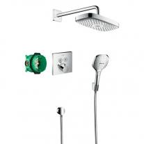 Sistem de dus cu termostat, Hansgrohe, Design Raindance Select E, crom