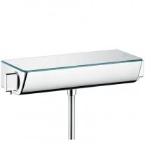 Baterie de dus termostatata, Hansgrohe, Ecostat Select, Cu polita de sticla securizata, Crom