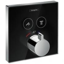 Baterie cu termostatat Hansgrohe, ShowerSelect Glass, cu 2 functii, finisaj sticla, negru/crom