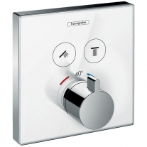 Baterie cu termostatat Hansgrohe, ShowerSelect Glass, cu 2 functii, finisaj sticla, alb/crom