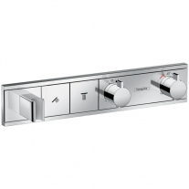 Mixer termostatat cu 2 functii, Hansgrohe, RainSelect, Cu suport pentru para de dus, Crom