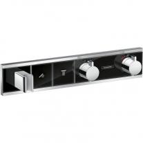 Baterie cu termostatat Hansgrohe, RainSelect, cu 2 functii si suport dus, negru/crom