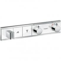 Mixer termostatat cu 2 functii si suport dus, Hansgrohe, RainSelect, Alb/crom