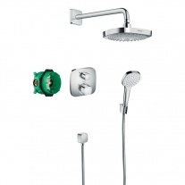 Set de dus Hansgrohe, Croma Select E, cu baterie termostatata Ecostat E, crom